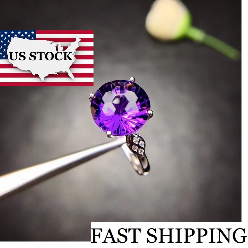 US STOCK Uloveido Amethyst Solitaire Ring 925 Sterling Silver 10 10mm Certified Round Purple Gemstone Wedding