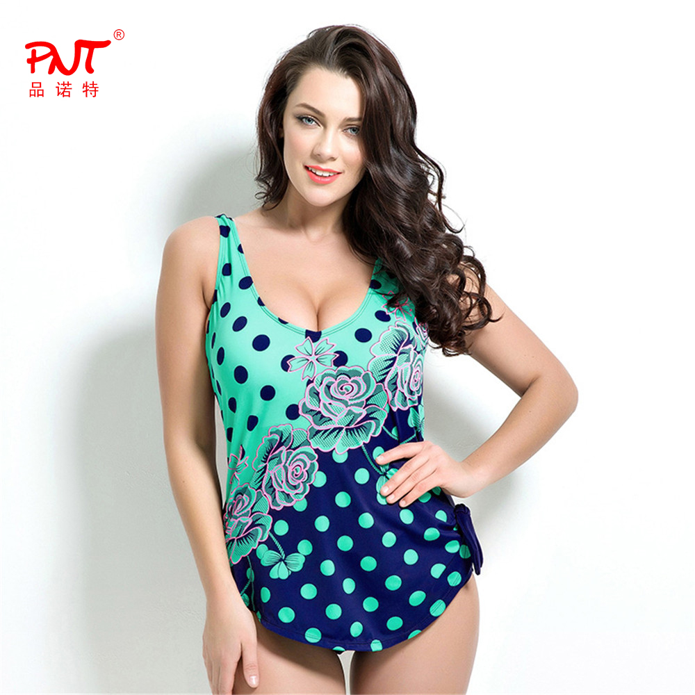 PNT168 New Womens Retro Plus Size One Piece Swimsuit Dress Vintage Floral Dot Backless Soft Pad Bathing Suit Sexy Skirt Swimwear plus size scalloped backless one piece swimsuit