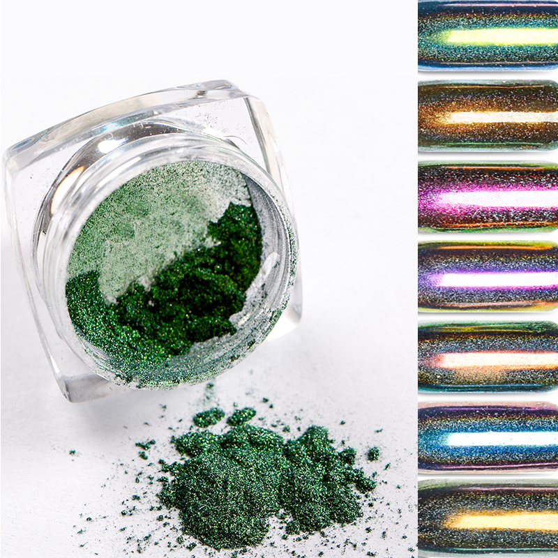 T TIAO CLUB Holographic Nail Glitter Powder Dust Magic Mirror Chameleon Glitter Pigment Powder Manucure Nail Art Decoration in Nail Glitter from Beauty Health