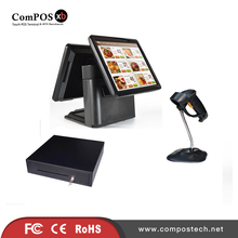 "J900 celeron quad core 15"" double screen pos system for point of sale with pos cash register barcode scanner"