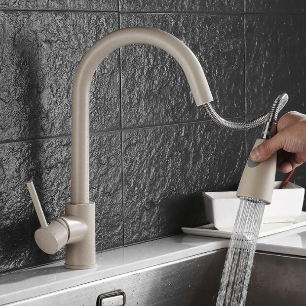 Newly Arrived Pull Out Kitchen Faucet Chrome nickel quartz stone look like Sink Mixer Tap 360