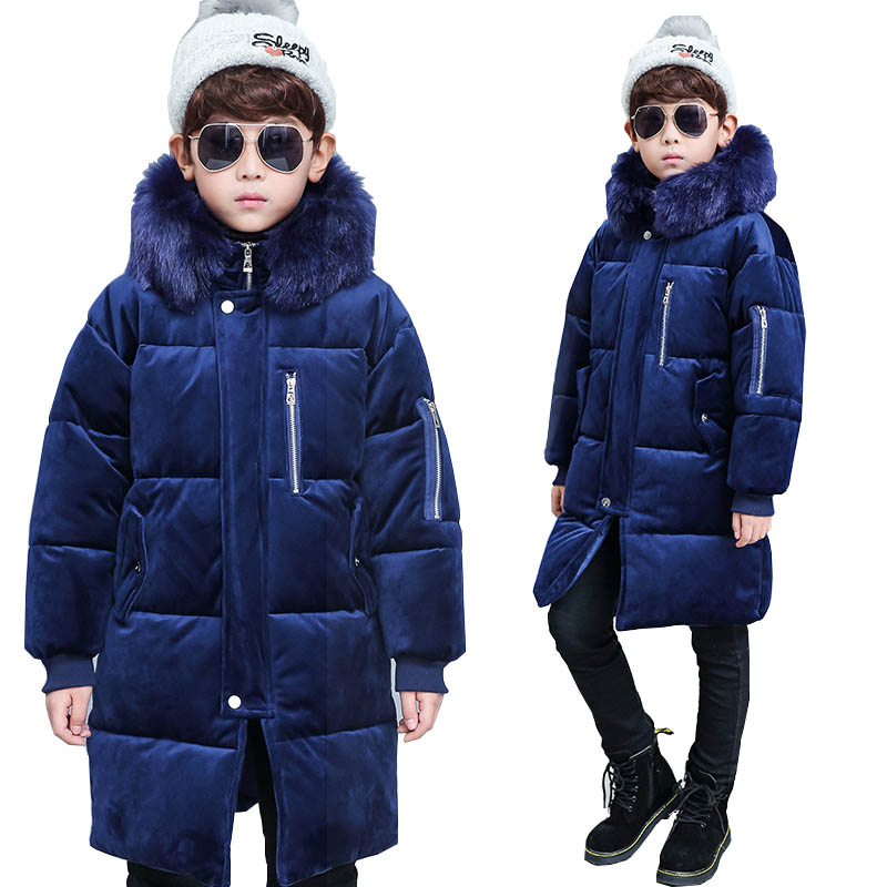 Kids Winter Coats Jacket for Boys Down Jackets Teenage Boys Long Coats Fur Collar Velour Outerwear Children's Clothing 8 10 12 Y