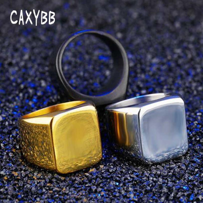 Caxybb Ramping Persegi Sederhana Pria Cincin Kelancaran Bisnis Pria Single Ring Fashion Emas Persegi Hitam Stainless Steel Pesta Cincin
