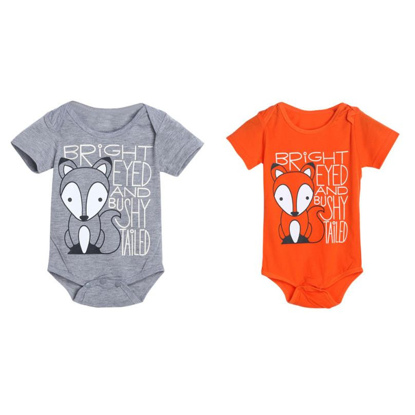 Hot sale baby bodysuits summer newborn cute two color Baby Boys Girls Fox Letter Print Jumpsuit Outfits Clothes bebes