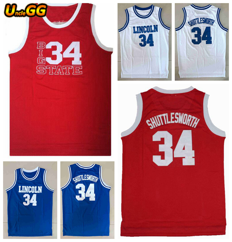 6d52396ee Uncle GG Shuttlesworth  34 Lincoln He Got Game Big State Embroidery  Stitched Basketball Jersey Mens Movie Jerseys Shirt