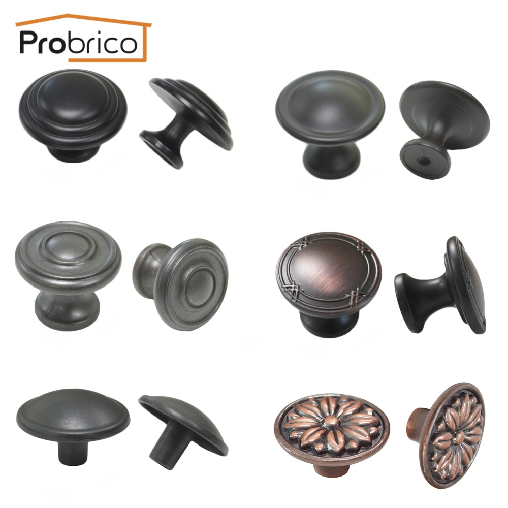 Oil rubbed bronze cabinet door knobs - Probrico Vintage Furniture Drawer Knob Zinc Alloy Antique Black Copper Oil Rubbed Bronze Kitchen
