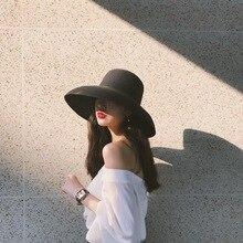 Audrey Hepburn straw hat sunken modelling tool bell shaped big brim hat vintage high pretend bility tourist beach atmosphere