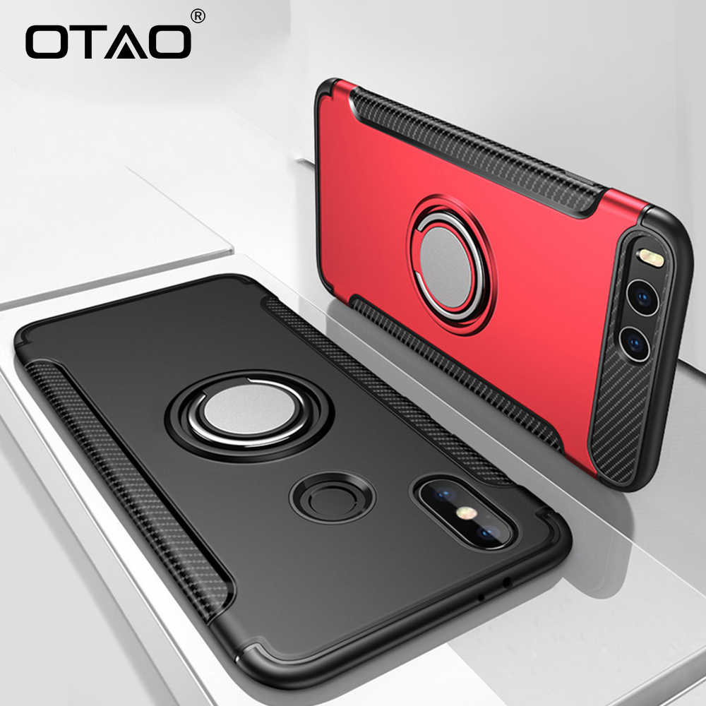 OTAO Finger Ring Holder Phone Case For Xiaomi 8 SE 6 6X Armor Shockproof Cases For Redmi Note 5 4X Hybrid Magnetic Bracket Cover