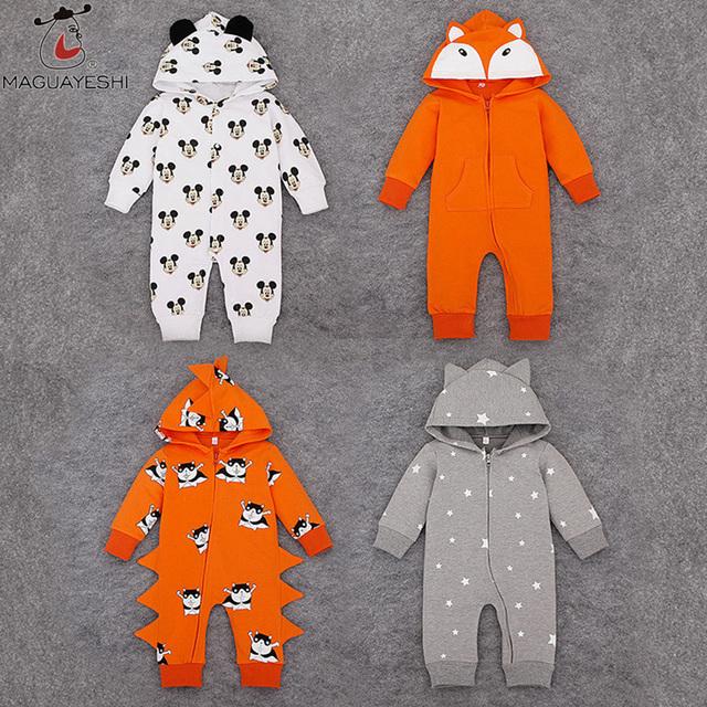Meninas Primavera Outono Macacão de Bebê recém-nascido Roupas Meninos Mickey Roupas Infantis de Algodão de Manga Longa Hoodies Jaqueta Bebês Jumpsuits