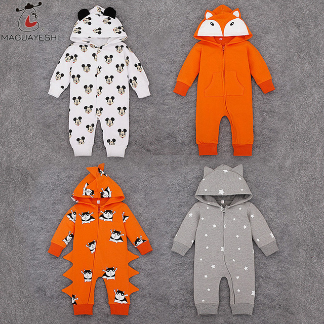 Newborn Baby Boys Clothing Spring Autumn Girls Rompers Mickey Infant Clothes Cotton Long Sleeve Hoodies Jacket Babies Jumpsuits