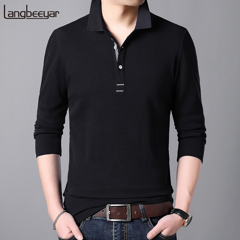 2019 New Fashion Brands   Polo   Shirt Men Turndown collar Slim Fit Mens   Polo   Shirts With Short Long Sleeve Casual PoloMen Clothes
