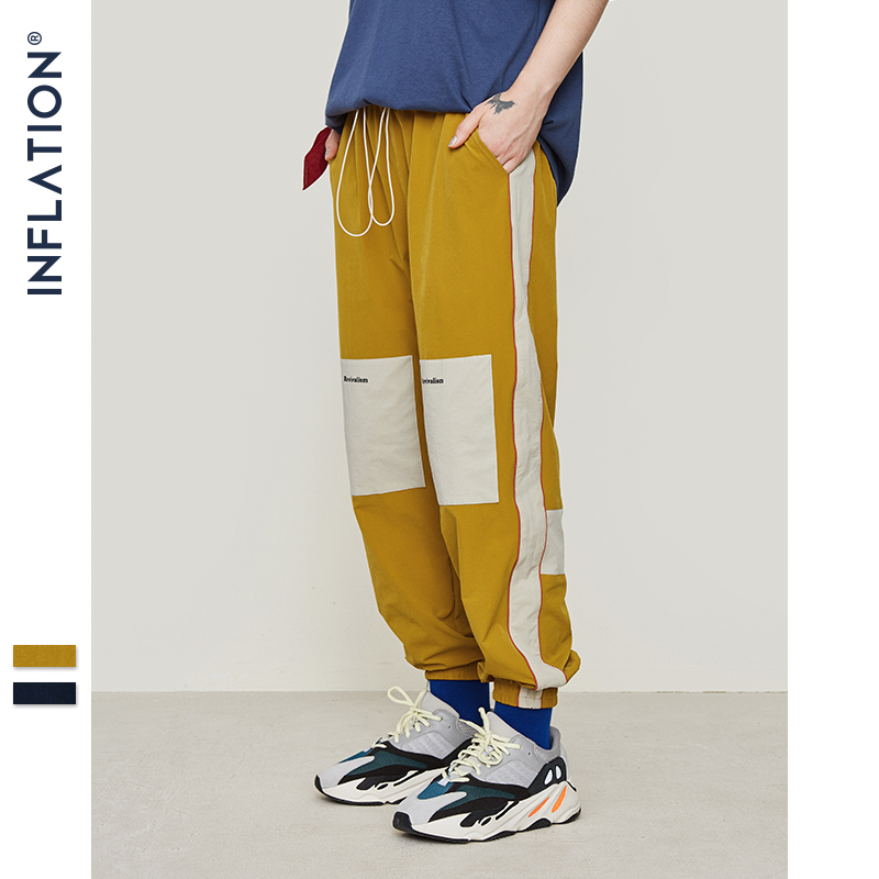 INFLATION Men Sportswear Pants Casual Elastic Vintage Mens Track Pants Loose Fit Sweatpants Drawstring Summer Trousers 9334S