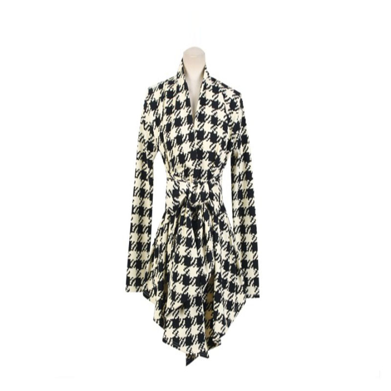 2017Korean Womens Houndstooth Pattern Thin Cardigan Coat Jacket Outwear Pattern Thin Car ...