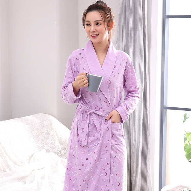 Autumn Winter Floral Sleepwear for Mujer Bathrobe Nightgowns Women\'s ...