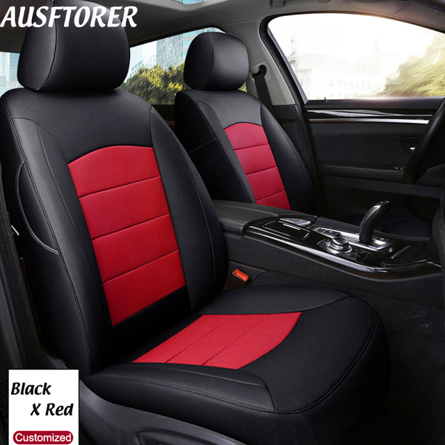 AUSFTORER Genuine Leather Custom Cover Car Seat for Peugeot 206CC Accessories Cowhide Seat Covers Protector Cars Styling 11PCS