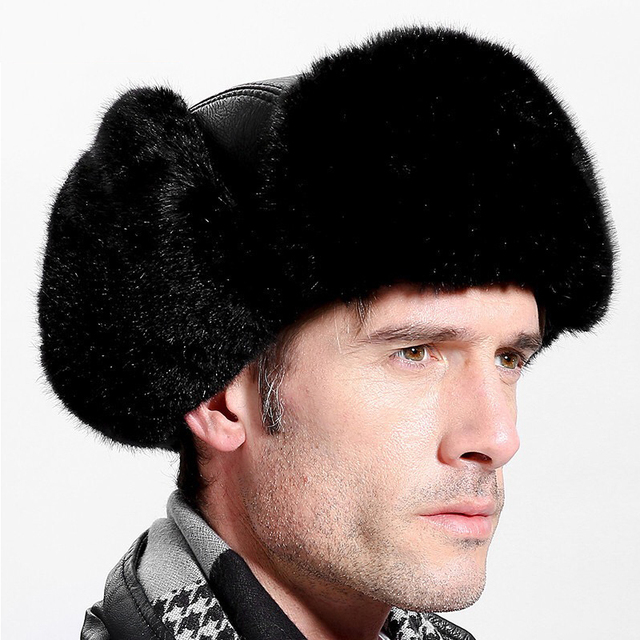 New fashion high quality Winter Lei Feng Cap Men's Thick Ear Ears Middle-aged Leather Hat