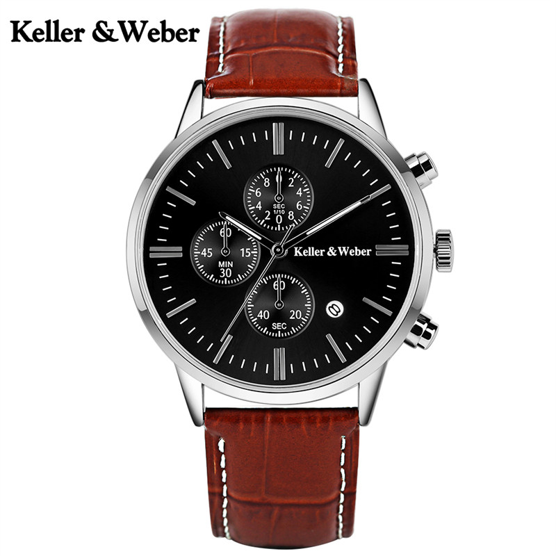 Keller & Weber High Quality Men Quartz Watches 30 M Waterproof Genuine Leather Watchband Luxury Chronograph Watch for Sport Male genuine jedir quartz male watches genuine leather watches racing men students game run chronograph watch male glow hands