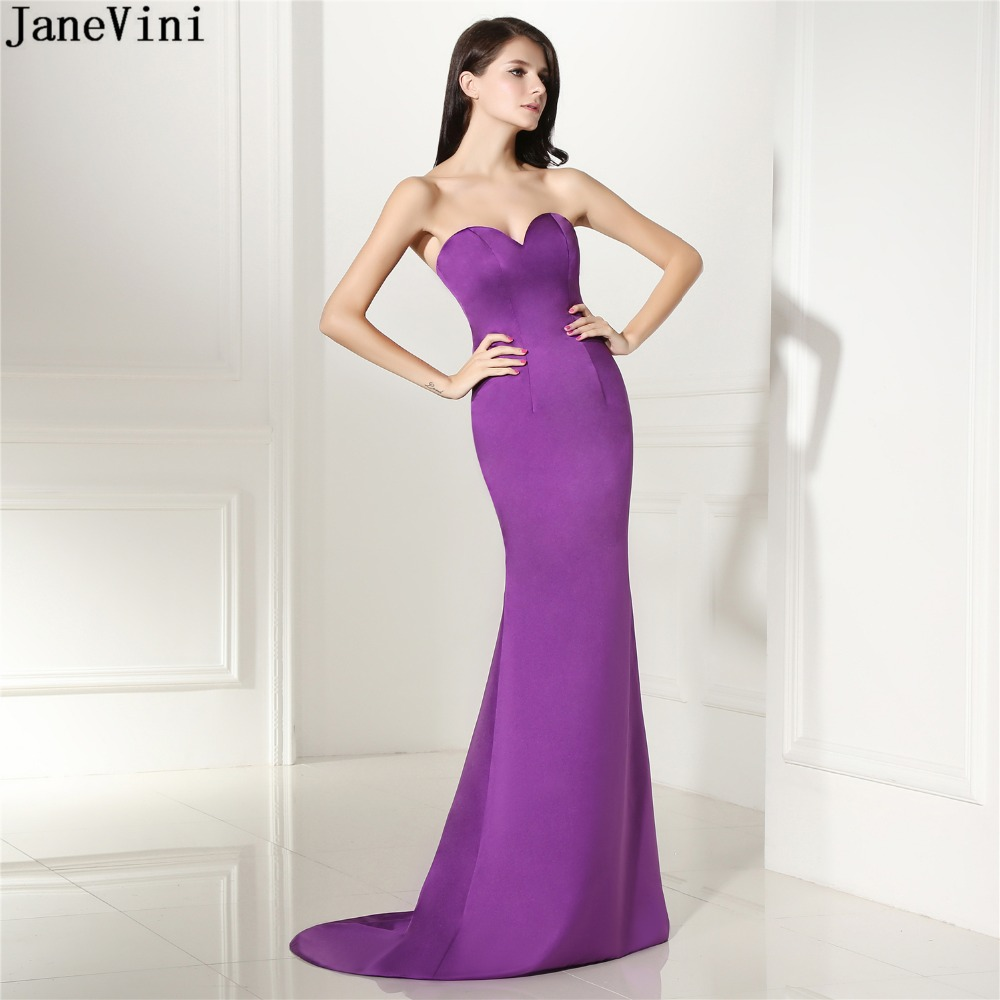 JaneVini Simple Purple Bridesmaid Dresses Sexy Satin Long Prom Dress Backless Sweep Train Mermaid Special Occasion Party Gowns