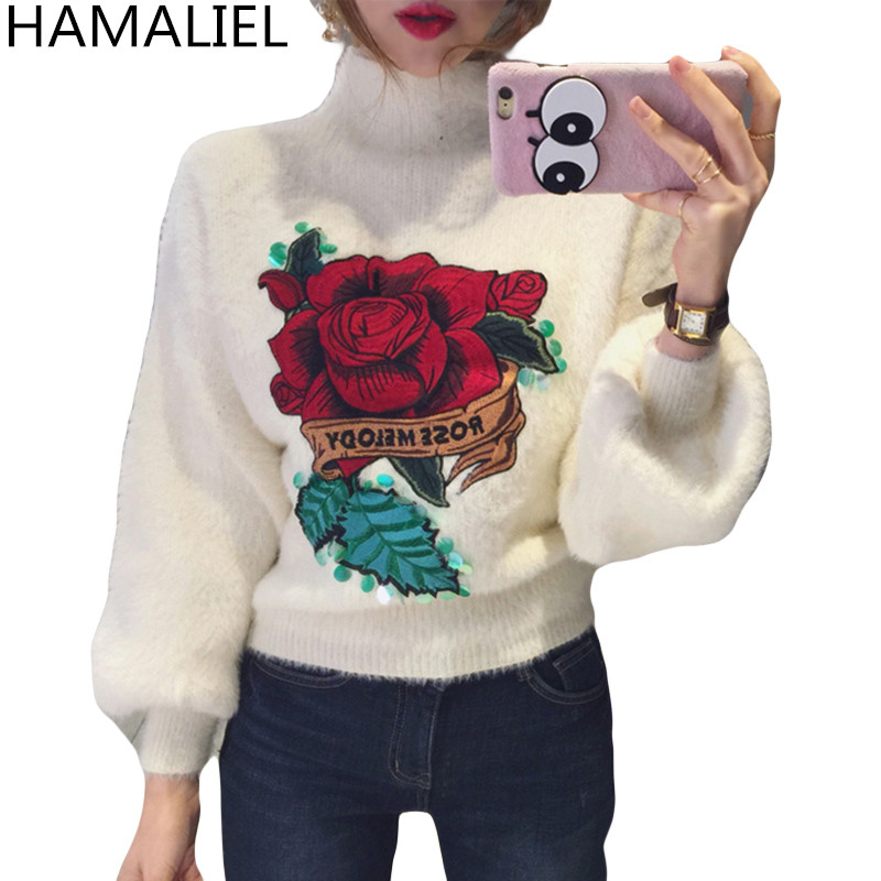 Autumn Winter Women Pullovers Sweater 2018 Rose Embroidery Sequined Mink Cashmere Warm Female Turtleneck Lantern Sleeve Jumpers
