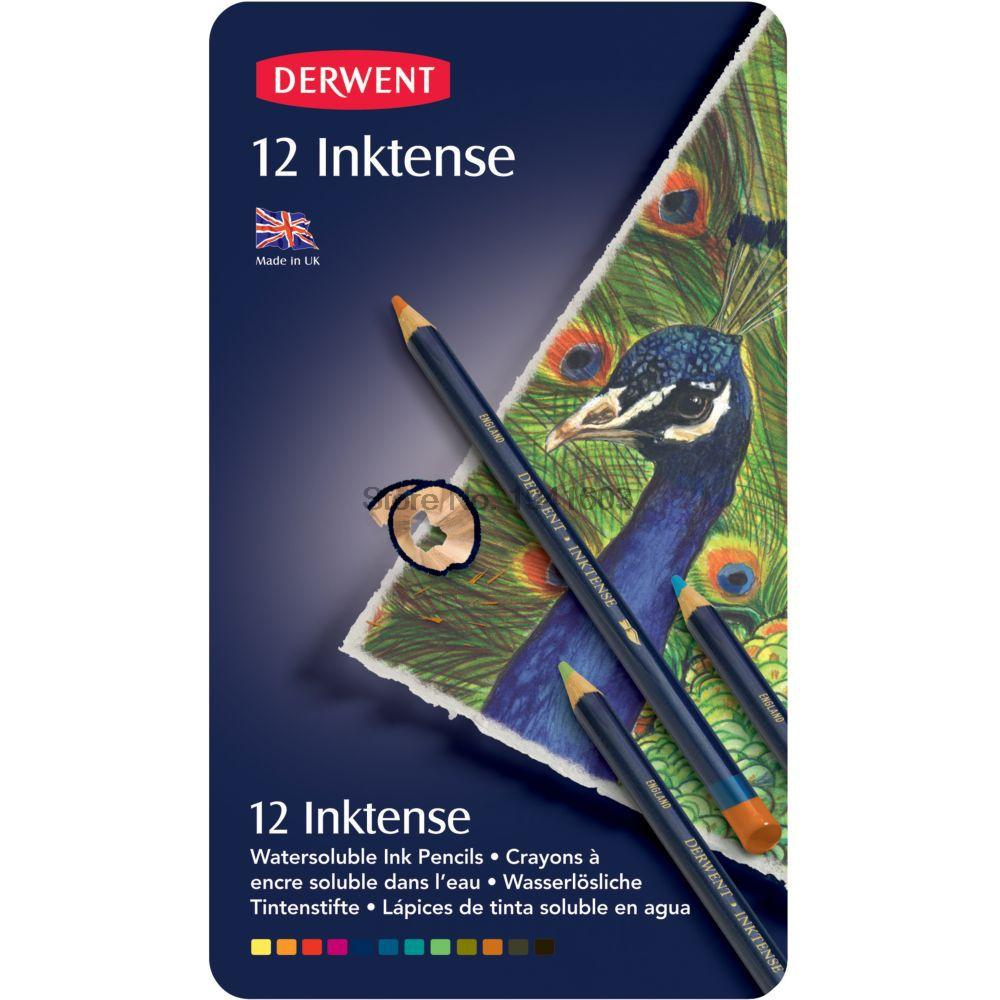 12 Pcs/Lot Derwent Inktense 12 Pencils Tin Set-Soluble Pencil for Painting rotulador image