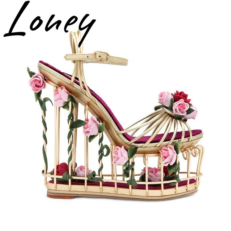 Loney New Genuine Leather Sexy Platform Summer Sandals Open Toe Floral Deco Caged Heel HIgh Heel Sandals Shoes WomenLoney New Genuine Leather Sexy Platform Summer Sandals Open Toe Floral Deco Caged Heel HIgh Heel Sandals Shoes Women