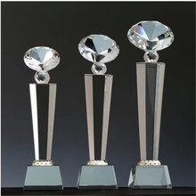 Free Shipping 22cm Height Blank Clear diamond Crystal Trophy For Business
