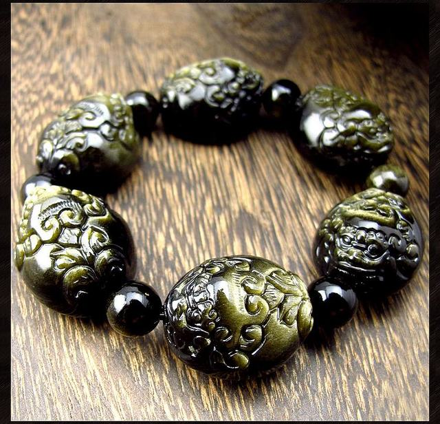 Fengshui Good Luck Bracelet Natural Golden Obsidian Wealth Pixiu
