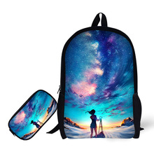 Comics Printing Backpack Children School Bags For Teenager Girls Backpacks Laptop Pencil case