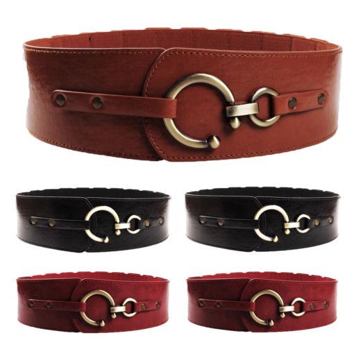 Hirigin 2019 Women Adjustable Metal Waist Belt Leather Bling Gold Plate Slim Simple Belt