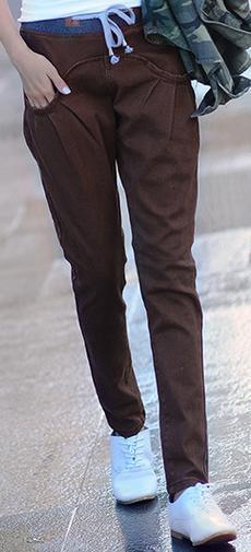 Новинка; Хлопковые Штаны-шаровары с эластичной резинкой на талии; джинсы; повседневные брюки; женские узкие брюки ярких цветов - Цвет: Коричневый