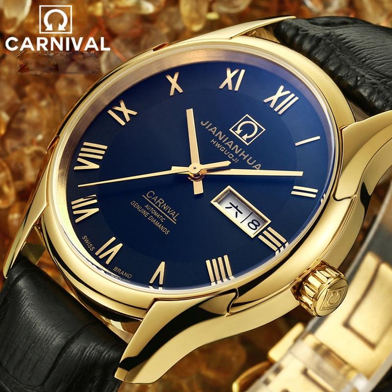 Karnawał luksusowej marki mężczyźni biznes automatyczne zegarki mechaniczne prawdziwej skóry wodoodporny zegarek świetlna mężczyzna zegar reloj hombre w Zegarki mechaniczne od Zegarki na  Grupa 3