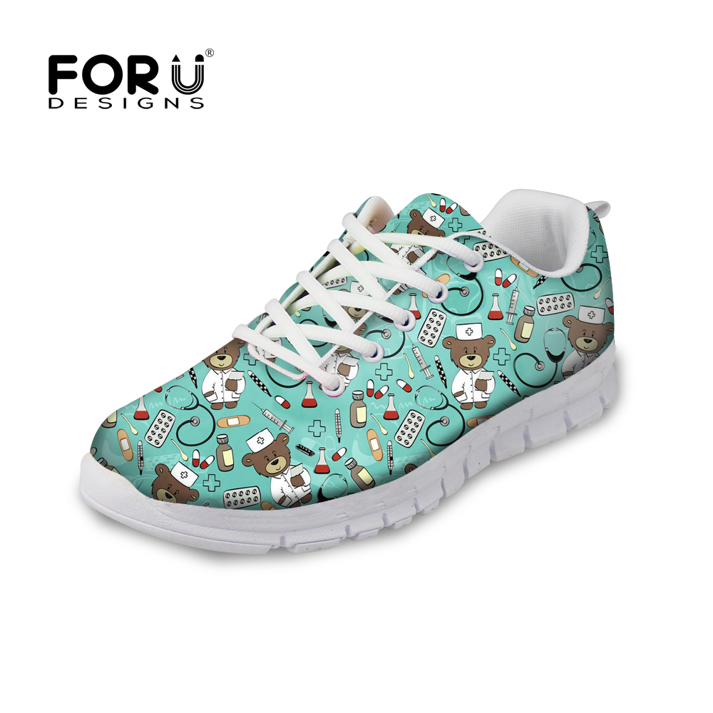 FORUDESIGNS Woman Flats Shoes Cute Nurse Bear Prints Casual Women's Sneakers Girls Lightweight Mesh Walking Shoes Zapatos Mujer instantarts women flats emoji face smile pattern summer air mesh beach flat shoes for youth girls mujer casual light sneakers