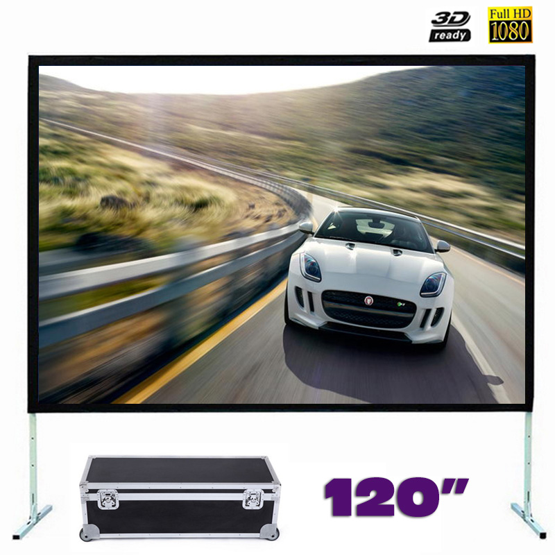 Fast Fold Projector Screen 120 inches Quick Folding Projection Screens for Outdoor Concerts Exhibitions Cinema 4:3/16:9 optional new hd 150 inch projector screen 4 3 fast fold front projection screens with strong frame portable carry case for outdoor page 2