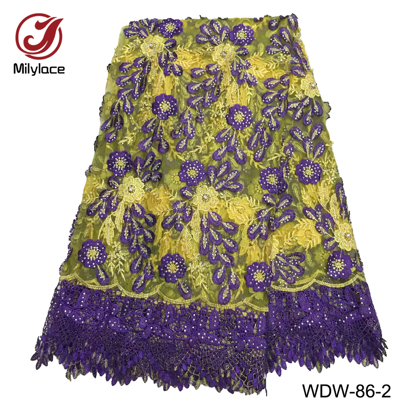 Small rhinestones french lace fabric 5 yards per lot african lace fabric yellow and purple net