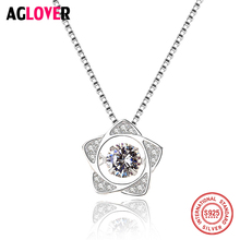 Move Austria Crystal Zircon Pendant Necklaces 925 Sterling Silver Chain Fashion Charm Star Woman Necklace Jewelry цена