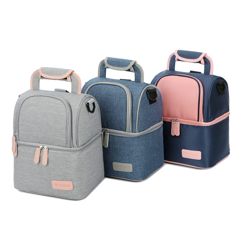 High Quality Double Layer Fashion Portable Lunch Bag Food Cooler Picnic Bags for Women Thermal Lunch Box Kids Milk Bag 3 Colors