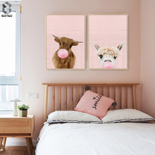 Giraffe Rabbit Bubble Gum Art Poster Prints Pink Nursery Wall Canvas Paintings Picture Baby Animals Bunny Decor