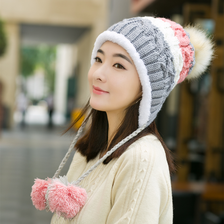 97ce498e592 2018 Winter Lady Women Knitted Bomber Hats Female Girl Thick Pompom Fleece Ear  Flaps Warm Cap Faux Fur Ball ...