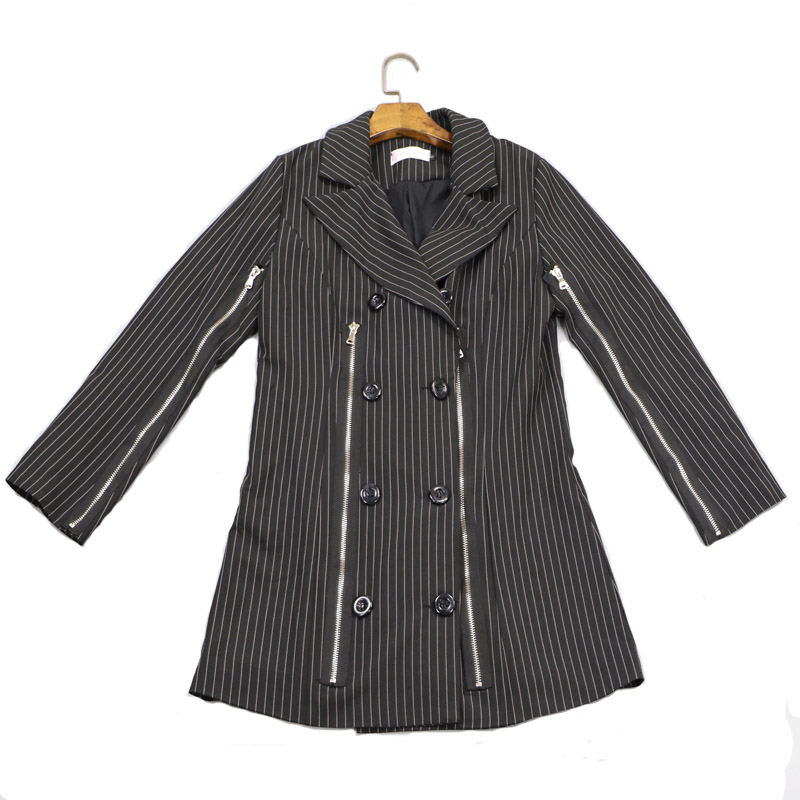 High Quality Fashion Blazer Female Double Breasted Striped Long Sleeve Blazers Zipper Spring Jacket Women Outerwear Coats WB18
