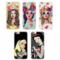 For iPhone 4 4S 5 5S 5C 6 6S 6Plus 7Plus 7 Samsung Punk Snow White Glasses Fashion Girl Floral Girl Soft Phone Case Fundas coque