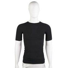 HW2016 NEW arrival  Men Sports Short Sleeve T-shirt Quick-dry Training Fitness Tight Tops Black