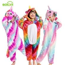 Flannel Winter Pegasus Christmas Pajamas Unicorn Pajamas For Girls Cartoon Animal Hooded Sleepwear Onesie Boys Pyjamas Kids