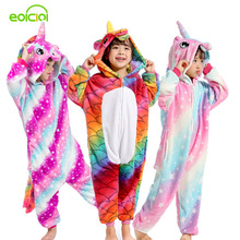 цены на Flannel Winter Pegasus Christmas Pajamas Unicorn Pajamas For Girls Cartoon Animal Hooded Sleepwear Onesie Boys Pyjamas Kids  в интернет-магазинах