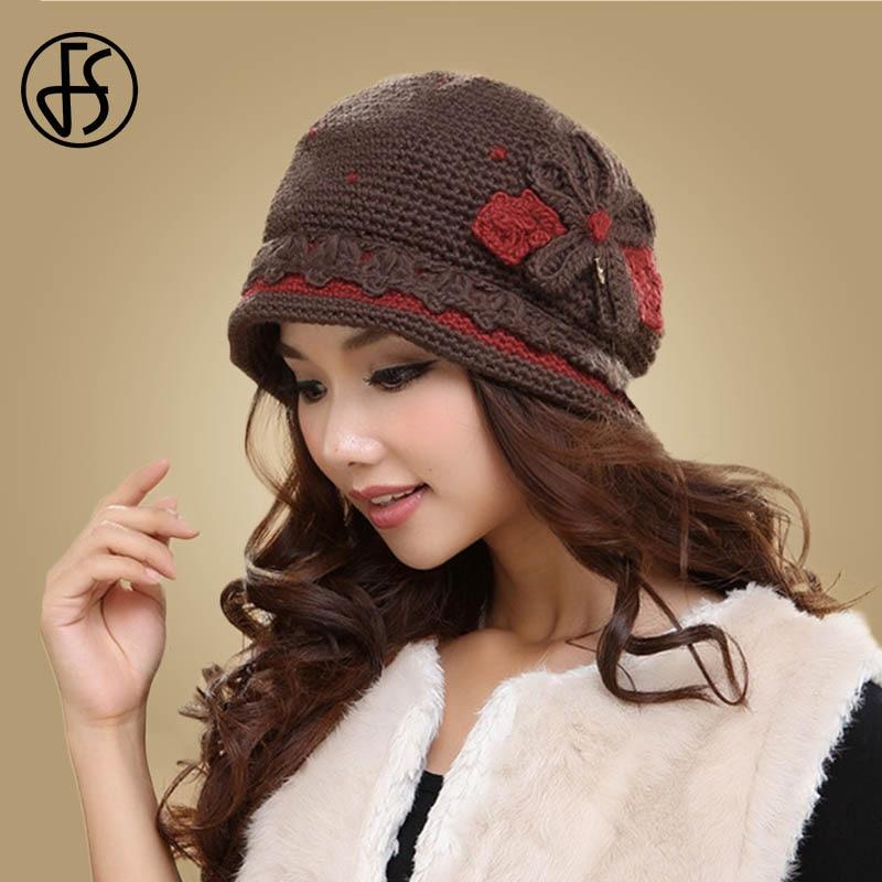 FS Winter 100% Wool Knit Beanies Hats For Women Pumpkin Hat Hand Knitted Ladies Beanie Skullies Caps Bonnet Cap