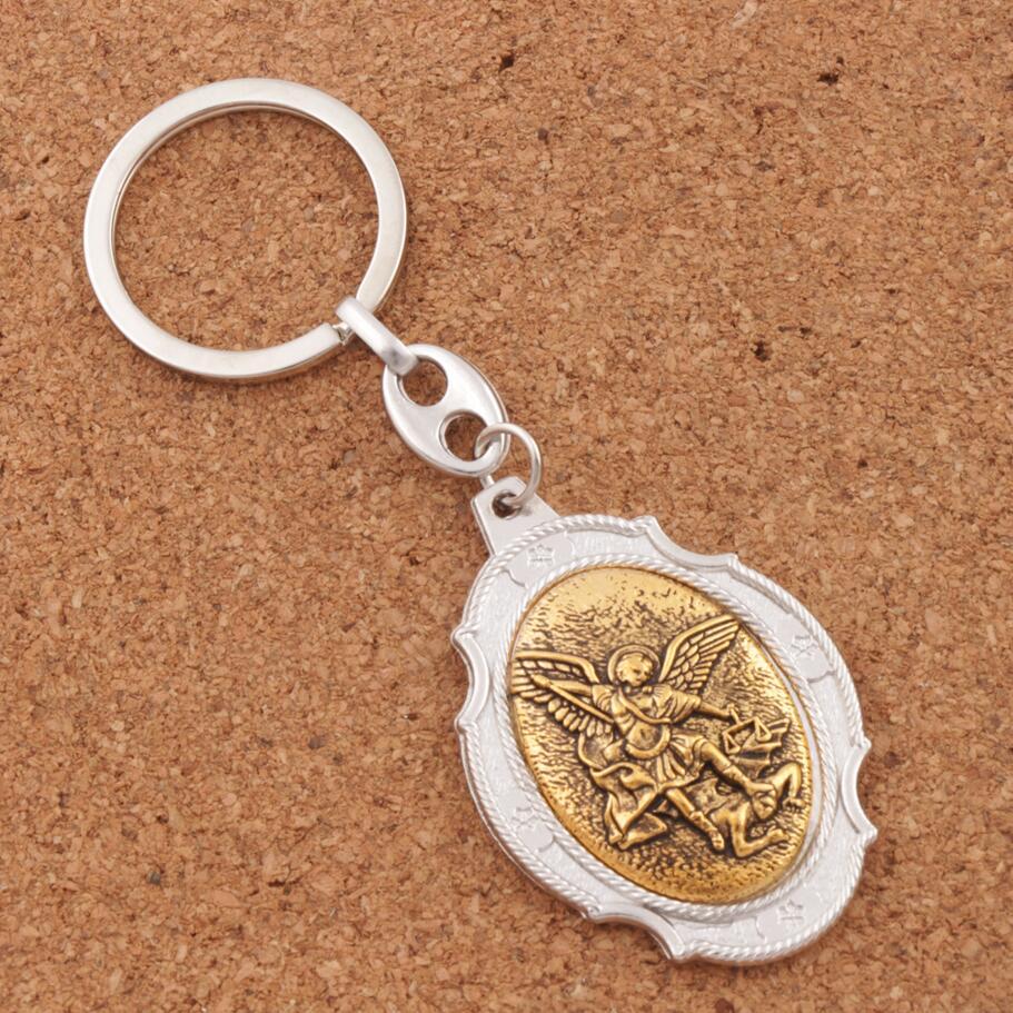 12 cores Católica Patrono Saint Michael Medalha de São Miguel Arcanjo a 2  polegada Anel Chave Chaveiro K1746 b9f8cb7522