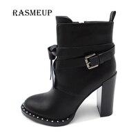RASMEUP Winter Women Rivet Buckle Gothic Punk Ankle Boots Black High Heel Martin Boots Zipper Combat