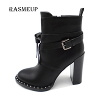 RASMEUP Winter Women Rivet Buckle Gothic Punk Ankle Boots Black High Heel Martin Boots Zipper Combat Motorcycle Boots Shoes