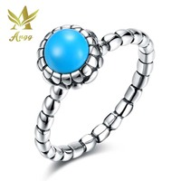 ANGG Real 925 Sterling Silver Turquoise Rings Engagement Simple Bule Birthday Valentine S Day Gift Jewelry