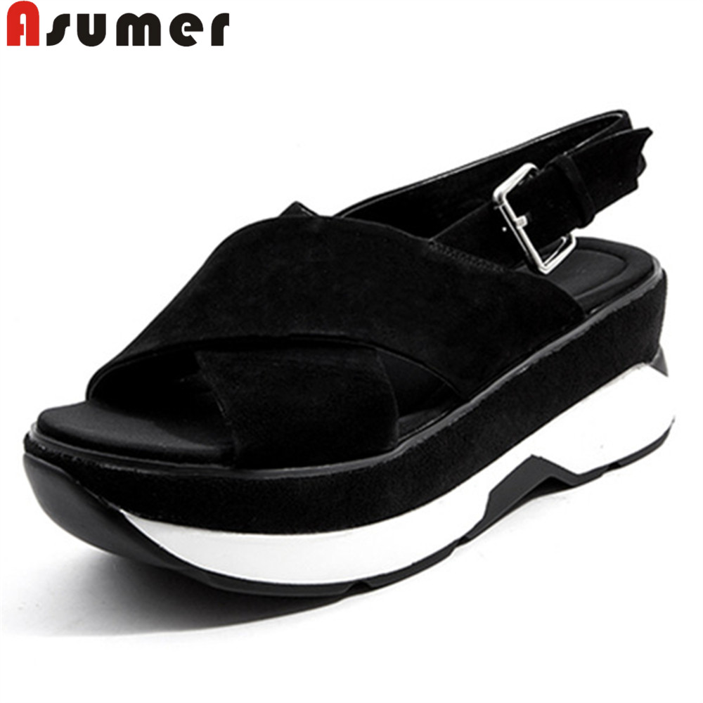 ASUMER big size 33-42 2018 summer new shoes woman buckle flat platform sandals women casual comfortable suede leather shoes women s shoes 2017 summer new fashion footwear women s air network flat shoes breathable comfortable casual shoes jdt103