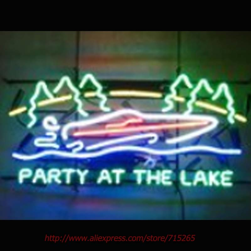 US $238 95  Party At The Lake Neon Sign Neon Bulbs Led Signs Real Glass  Tube Handcrafted Recreation Windows Beer neon Custom Design 30x15-in Neon